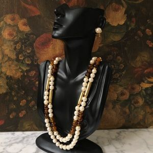 Vintage Amber and Pearl Necklace and Earrings